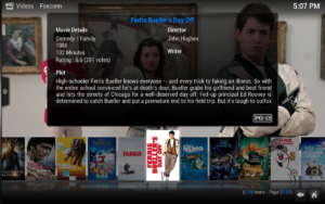 Kodi spiller av de fleste filmformatene. Kodi informerer det meste av katalog informasjonen, trailere og mye mer.